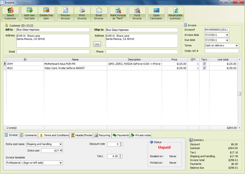 Free Billing and Invoicing Software with built-in invoice